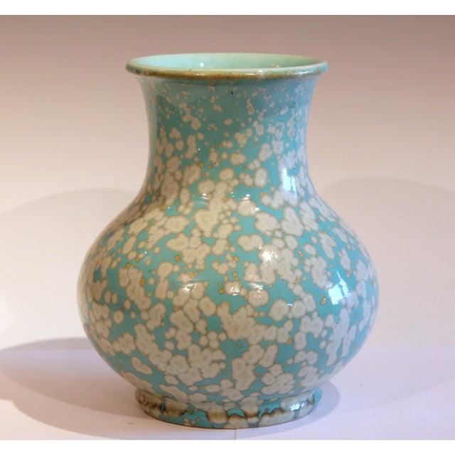 Japanese Japanese Studio Porcelain Antique Old Crystalline Sky Blue Hu Form Vase For Sale - Image 3 of 12