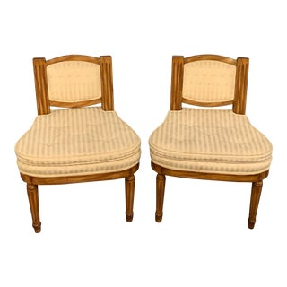 Louis XVI Slipper Chairs with Cushions- a Pair For Sale