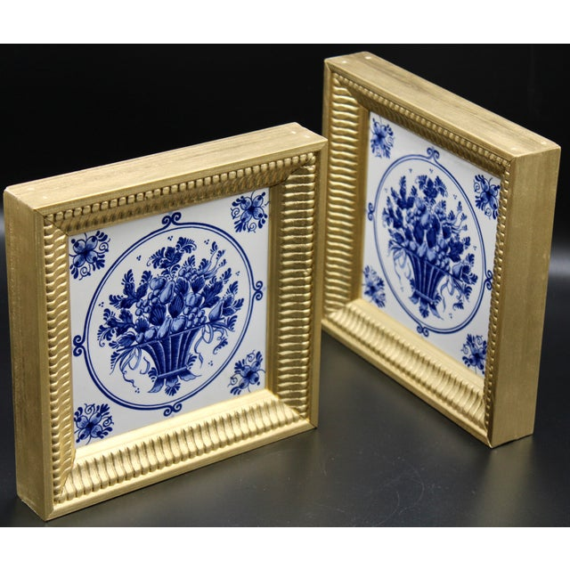 Mid-20th Century Dutch Delft Floral Gilt Wood Framed Tiles - a Pair For Sale - Image 9 of 13