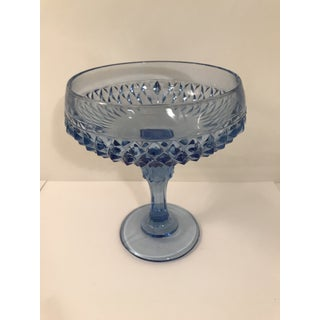 1970s Vintage Anchor Hocking Blue Diamond Point Compote Bowl Preview