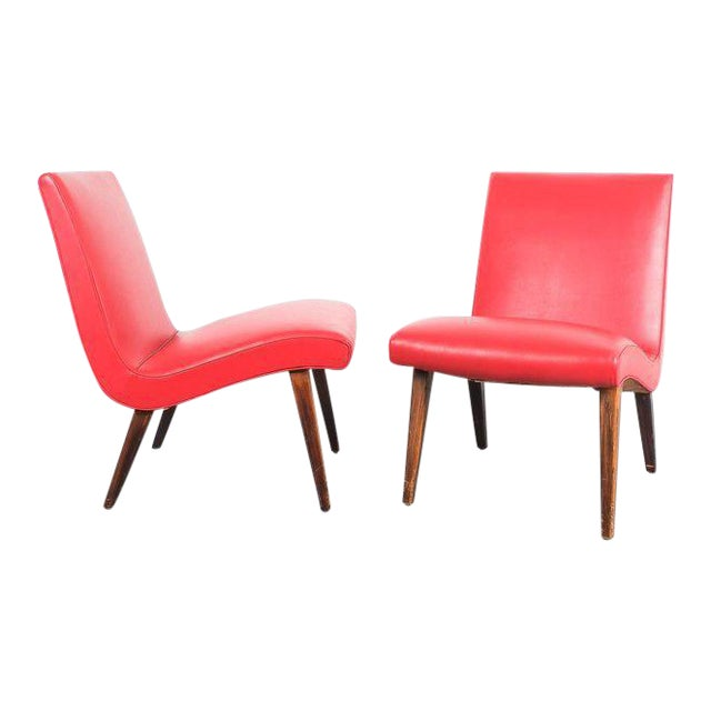 Pair of 1950s Jens Risom Red Vinyl Faux Leather Chairs For Sale