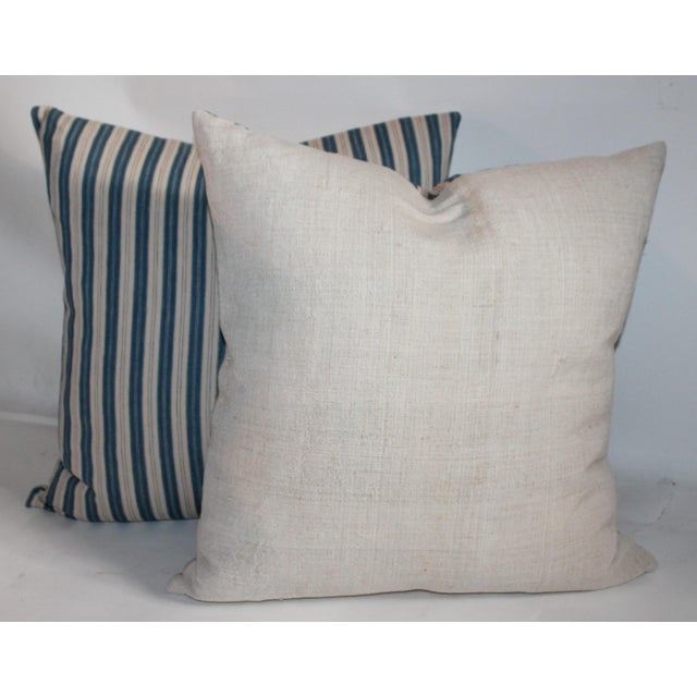 Striped Ticking Pillows - A Pair For Sale - Image 5 of 7
