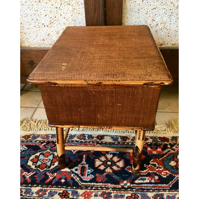 Arts & Crafts Antique Bamboo and Wicker Stool For Sale - Image 3 of 8