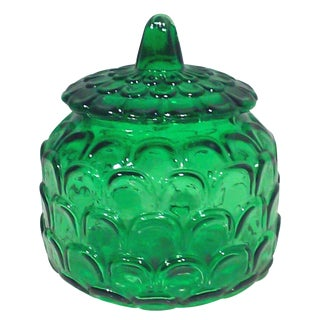 Italian Emerald Green Canister Jar For Sale