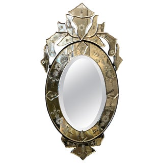 Small Sized Oval Venetian Mirror With Big Glitz Factor For Sale