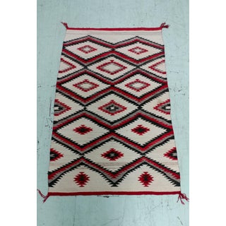 Navajo vintage Hand Woven Wool Rug w/Red Geometrical Patterns