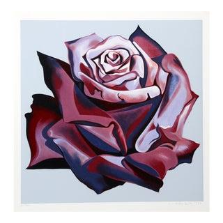 """Lowell Nesbitt, """"Red Rose"""" Photo Realist Flower Print For Sale"""
