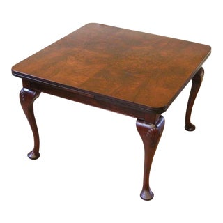 1900s English Traditional Burled Walnut Square Dining Table For Sale