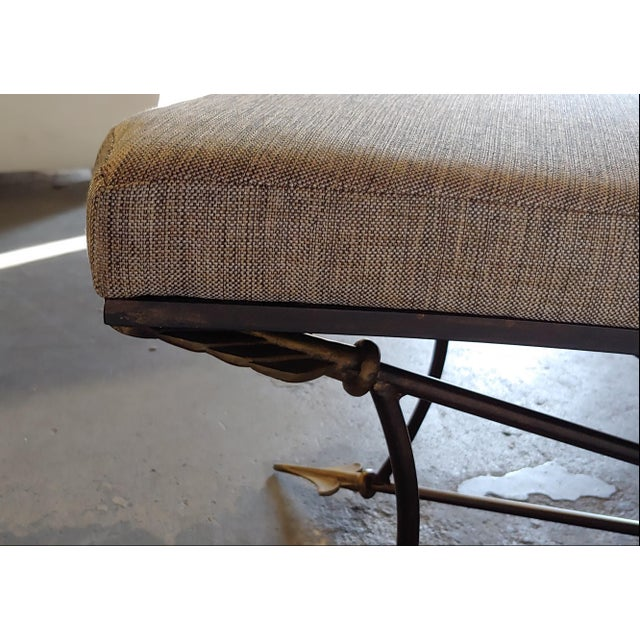Metal Newly Upholstered Bench With Neoclassical Style Base For Sale - Image 7 of 8