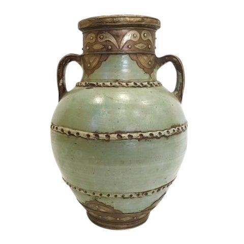 Moroccan Hand Made Patina Vase With Handles Chairish