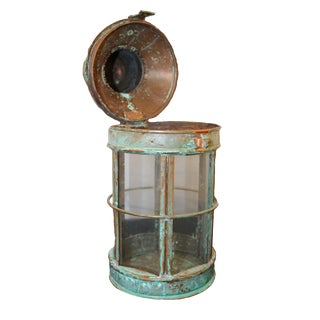 Vintage Green Patinated Turkish Copper Lantern For Sale