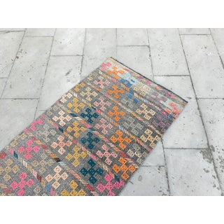 1980s Turkish Geometric Embroidered Rug - 2′7″ × 9′1″ Preview
