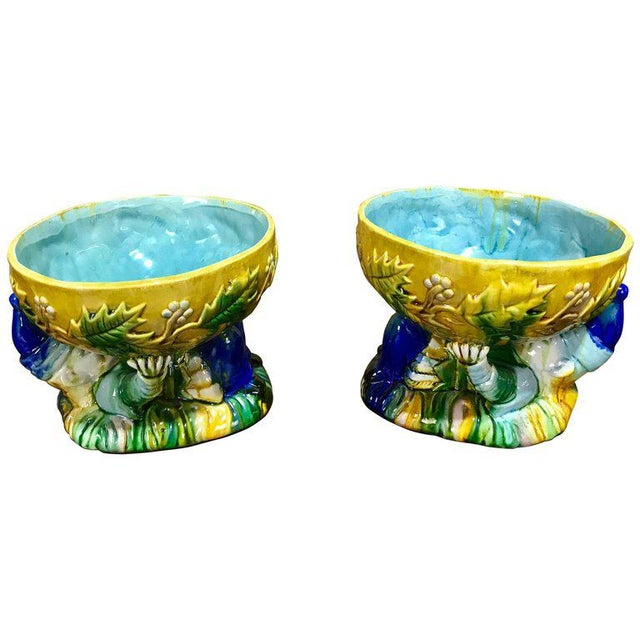"Majolica George Jones Style ""Punch"" Bowls - A Pair For Sale - Image 10 of 10"