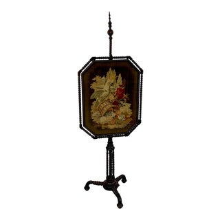 Exquisite 19th Century Rosewood & Needlepoint Cockatoo in Landscape Firescreen For Sale