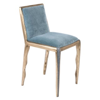 Melting Chair in Blue Shagreen and Bronze-Patina Brass by R&y Augousti For Sale