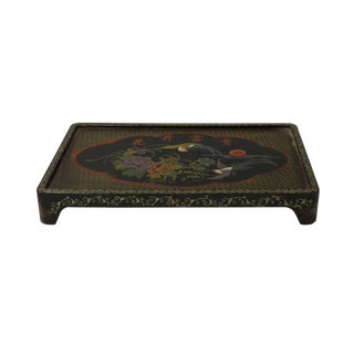Chinese Black Yellow Lacquer Scenery Tray Table Display Stand