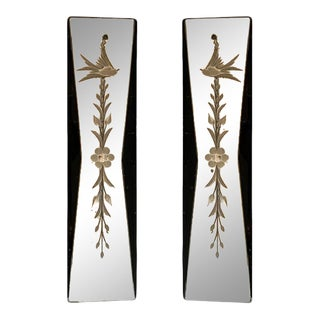 1930s Acid Etched Mirror Push Plates - a Pair For Sale