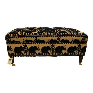 Elephant Motif Upholstered Ottoman For Sale
