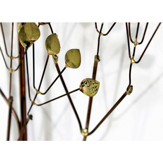 1970s Mid-Century Modern Brass Leaf Branch Tree Wall Art Sculpture Signed C Jere 1970s For Sale - Image 5 of 7