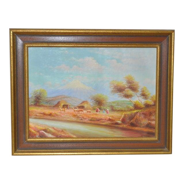 1950s Ecuadorian Mountain Village Painting For Sale