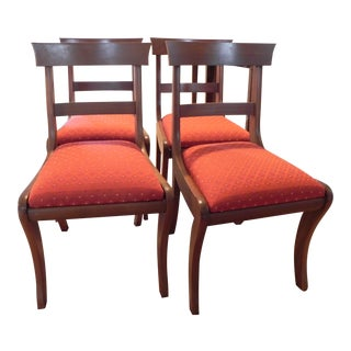 Mid Century Cherry Klismos Dining Chairs- Set of 4 For Sale
