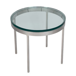 Nicos Zographos Polished Stainless Occasional Table With Glass Top, Circa 1970s
