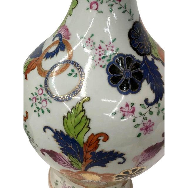 Asian Tabacco Leaf Design Garniture Vase For Sale - Image 3 of 6