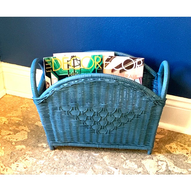 Mid 20th Century Vintage Blue Wicker Magazine Holder For Sale - Image 5 of 5