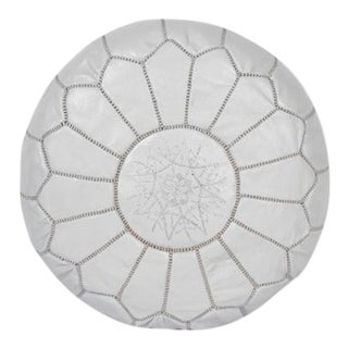 Gray White Leather Hand-Stitched Moroccan Pouf For Sale