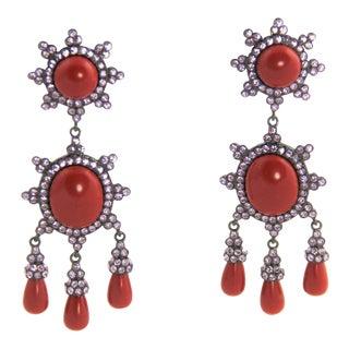 Joan Rivers Faux Coral Mogul Cabochon Rhinestone Dangle Runway Earrings For Sale