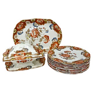 Vintage English Floral Luncheon Set - Service for 10 For Sale