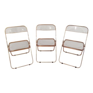 Mid-Century Modern Plia Acrylic & Steel Folding Chairs- Set of 3 For Sale