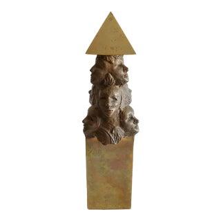 1970s Figurative Bronze Obelisk Sculpture For Sale