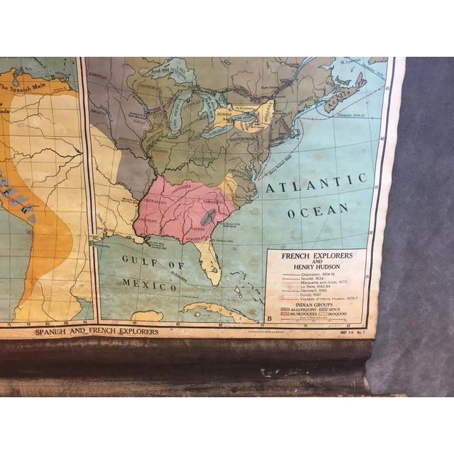 Vintage North & South America Pull Down Wall Map - Early Paper on Linen - Image 7 of 11