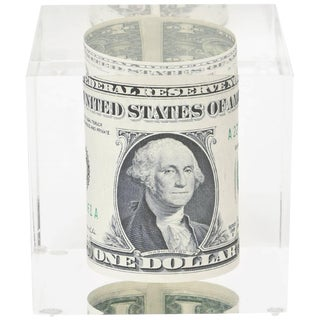 Vintage Dollar Bill Lucite Sculpture / Paperweight For Sale
