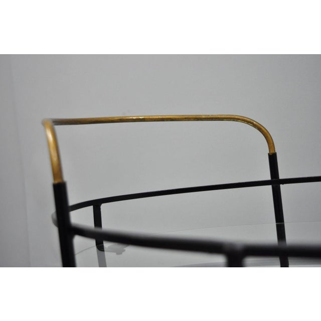 Glass Vintage Metal Iron & Glass Atomic Era Oval Rolling Bar Cart For Sale - Image 7 of 13