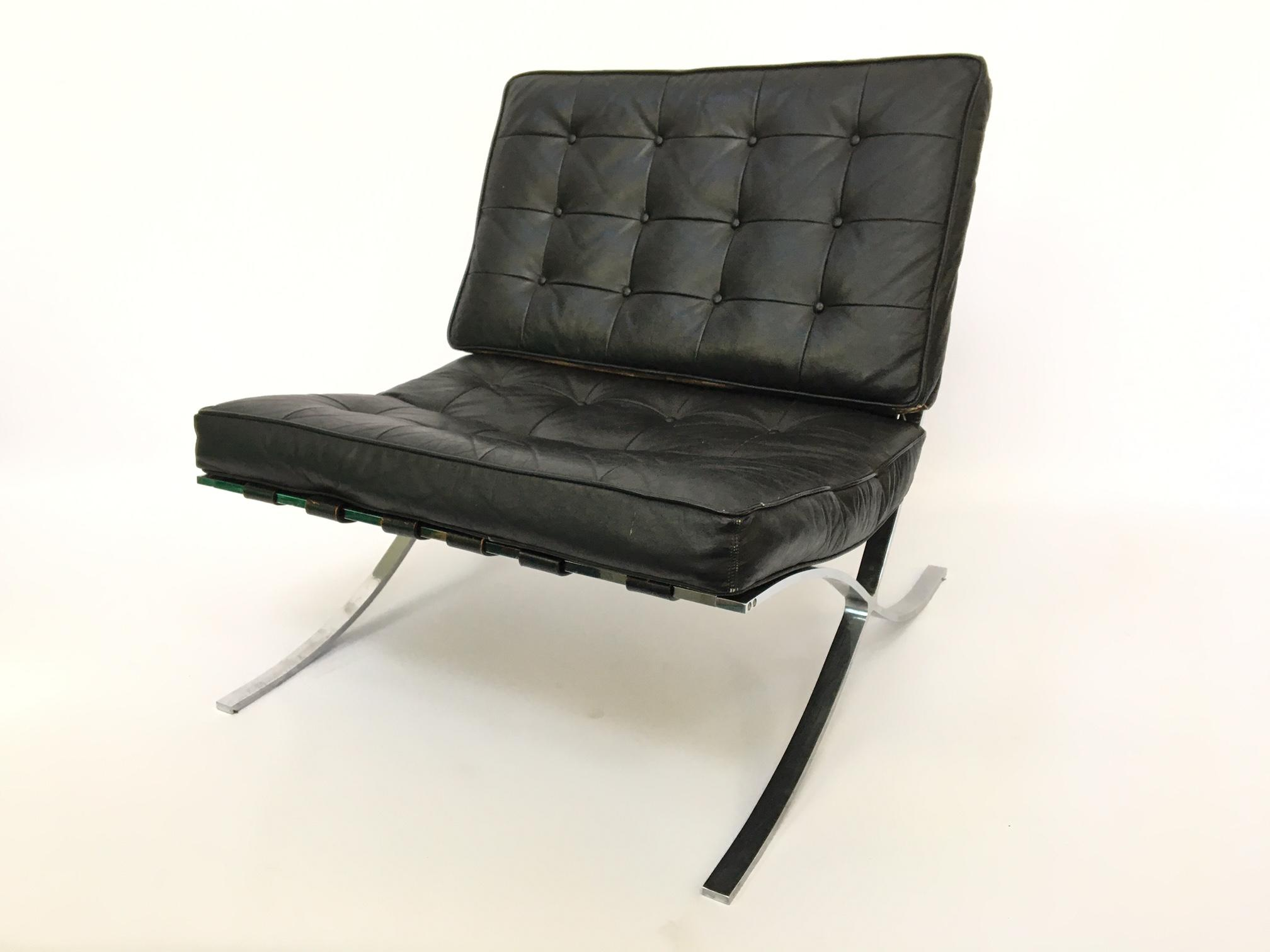 Black Leather Barcelona Chair After Ludwig Mies Van Der Rohe   Image 2 Of 11