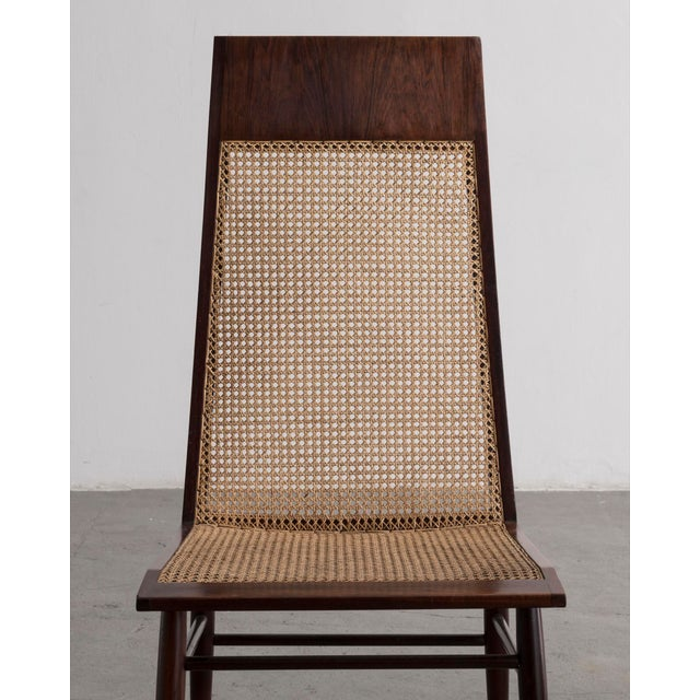 Joaquim Tenreiro Set of Eight (8) Dining Chairs in Rosewood With Cane Seat and Back For Sale - Image 4 of 6