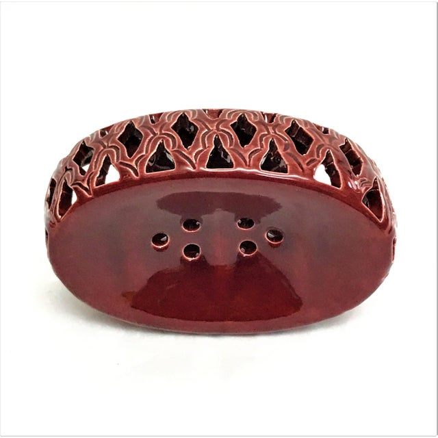 Moroccan Burgundy Hand Painted Ceramic Soap Dish - Image 2 of 3