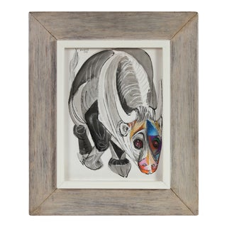 Modernist Illustration of a Bull, Ink and Pastel Drawing, 1968 For Sale
