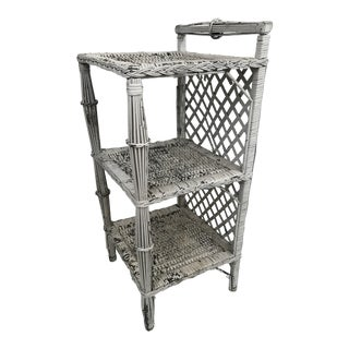 Small Painted Wicker Etagere For Sale