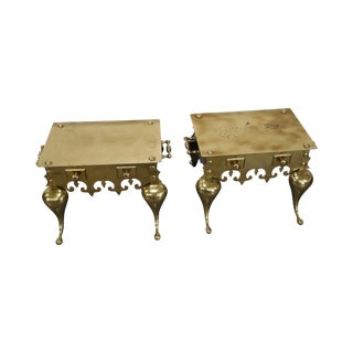 Brass Footman Low Tables - A Pair For Sale