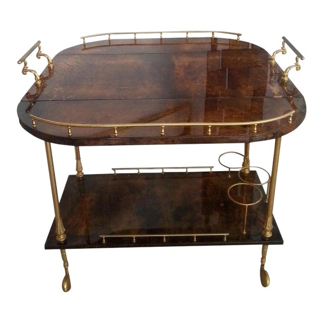 Mid-Century Modern Bar Cart in Lacquered Goatskin and Gold Plate by Aldo Tura For Sale