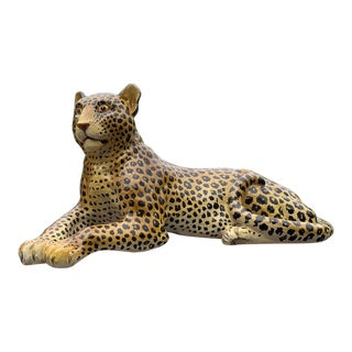 Large Hollywood Regency Hand Painted Terra Cotta Italian Leopard For Sale