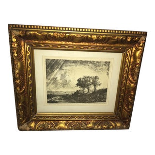 "Rembrandt ""Three Trees"" Restrike Etching For Sale"
