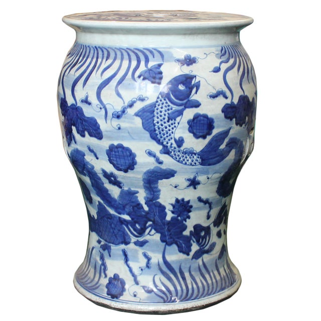 White Chinese Distressed Blue & White Porcelain Round Fishes Stool For Sale - Image 8 of 9