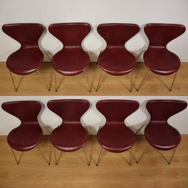 Red Leather and Chrome Dining Chairs - Set of 8 - Image 3 of 11