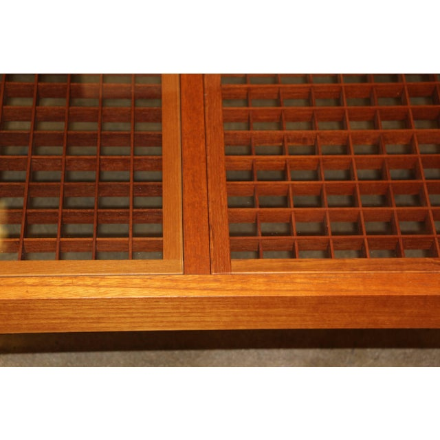 Brown Artisan Craft Made Lattice Top Coffee Table For Sale - Image 8 of 10