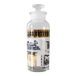 Vintage Glass Liquor Decanter Bottle Locomotives Trains Mid Century Black Gold Barware For Sale