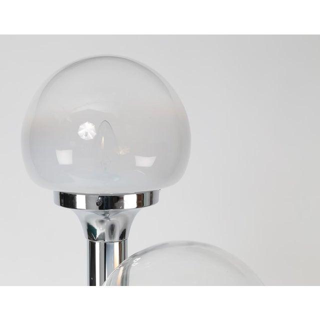 1970's Vintage ITALIAN CHROME THREE-GLOBE FLOOR LAMP For Sale - Image 4 of 8
